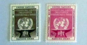 UN, NY - 25-26, MNH Set. UN Emblem and Anvil. SCV - $1.25