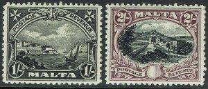 MALTA 1930 PICTORIAL 1/- AND 2/- INSCRIBED POSTAGE & REVENUE
