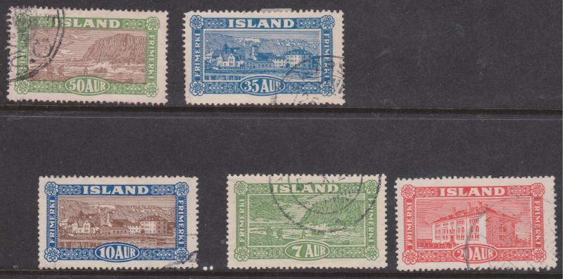 Iceland -  #144-48 1925 Views Set of 5 VF CDS