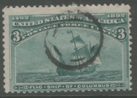 USA 1893 3c Columbian #232 sound used