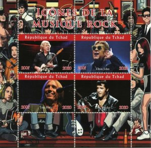 Chad Rock Music Stamps 2020 MNH Elton John Elvis Presley Tom Petty 4v M/S II