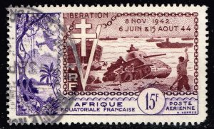 FRANCE COLONIES French Equatorial Africa 1954 The 10th Anniversary of D-Day 15F