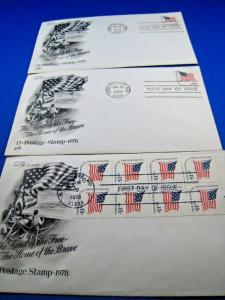 U.S. FIRST DAY COVER SETS - LOT of 3 - 1978 -  15 CENT STAMP    (FDC-14x)