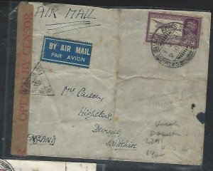 PAKISTAN  (PP0711B) 1941 INDIA USED IN  CENSOR A/M COVER KARACHI L2A1 TO ENGLAND