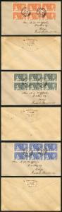 British Honduras SG147/9 12 may 1937 Coronation Blocks of 6 on FDCs