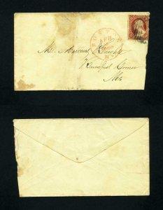 # 26 on cover from Boston, Massachusetts to Rumford Corner, Maine - 4-2-1850's