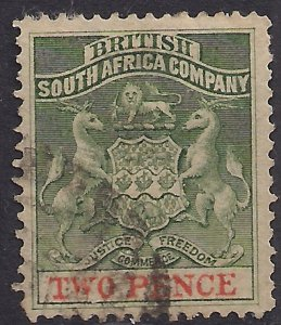 British South Africa Company 1892 - 94 QV 2d Green & Vermilion used SG 20 ( A...