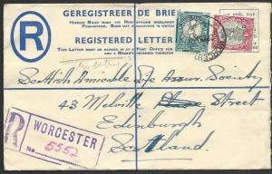 SOUTH AFRICA 1938 4d registered envelope used WORCESTER to UK..............49735