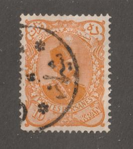 Persia Stamp, Scott# 118, used hinged, 10 kran, orange, post mark, #L-68