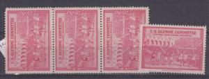 USA Olympic Committee 1948 London Olympics Cinderella x 4 MNH J3767