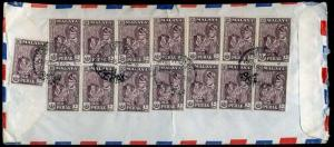 1965 Malaya Straits Settlements AIRMAIL x15 10c Perak 150c franking to Huntingdo