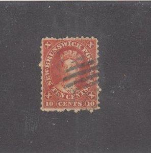 NEW BRUNSWICK # 9 F-VF-USED 10cts 1860 QN VICTORIA /VERM /CENTS ISSUE CV $50