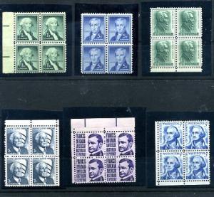 Six Blocks of 4 Mint NH