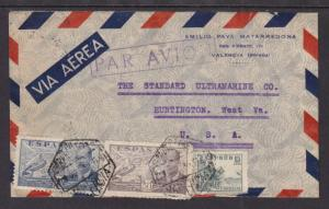 Spain Sc 666/C112 on 1945 Censored Cover  to US
