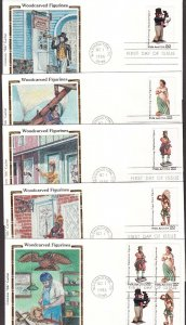 US 2240-43 FDC Lot of 5 Woodcarved Figurines w/ Colorano Silk Cachets