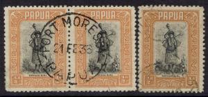 PAPUA 1932 MOTUAN GIRL 1/2D PAIR AND 1/2D BOTH PRINTINGS USED