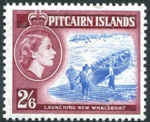 PITCAIRN ISLANDS-1957-63 2/6 Blue & Deep Lake Sg 28a UNMOUNTED MINT V28576