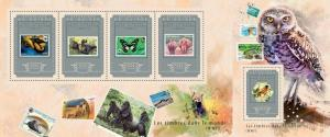 Guinea 2014 wwf butterflies owls stamp by stamp klb+s/s MNH