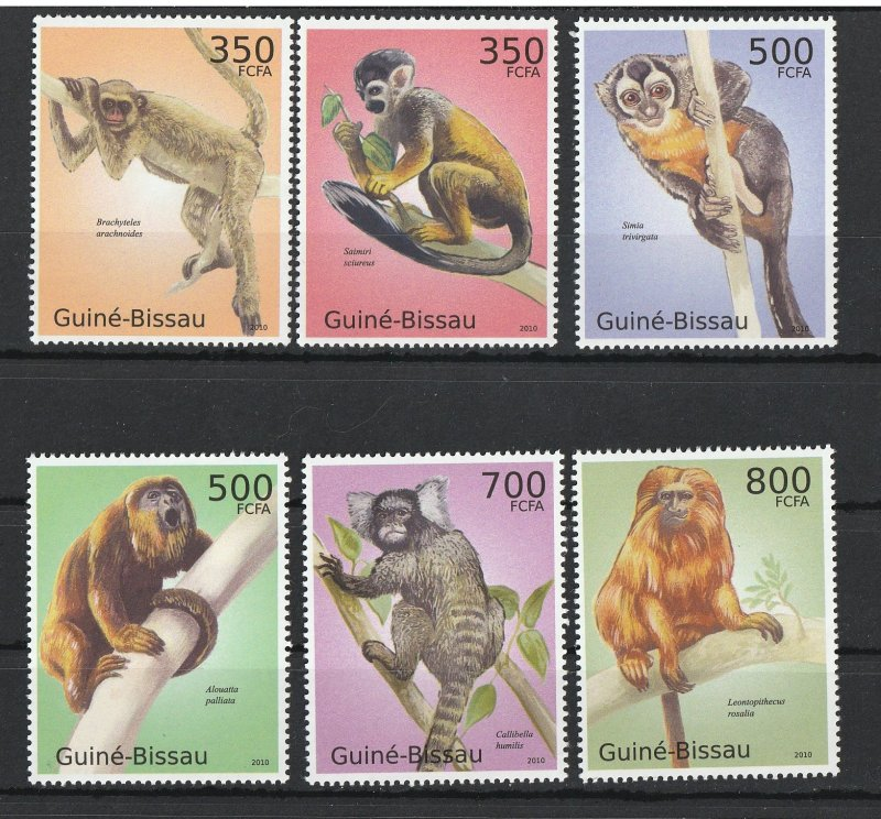 Guinea-Bissau MNH Macacos Monkeys 2010