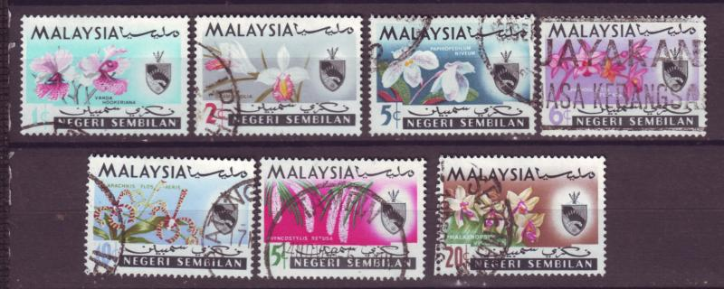 J18016 JLstamp  [low price] 1965 malaya negeri sembilan set used #76-82 flowers
