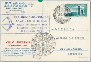 65322  - STORIA POSTALE - AVIAZIONE:  VOLO SPECIALE  Roma - Rio de Janeiro 1958