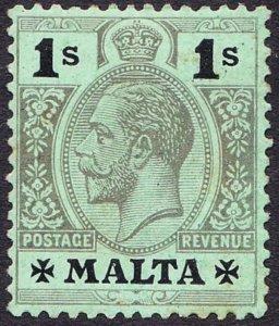 MALTA 1914 KGV 1/- Black/Green on White Back SG81 MH