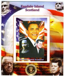 Easdale Island Scotland Barack Obama Kennedy Luther King deluxe s/s mnh.vf