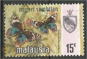 NEGRI SEMBILAN, 1971, used 15c, Butterfly. Scott 90