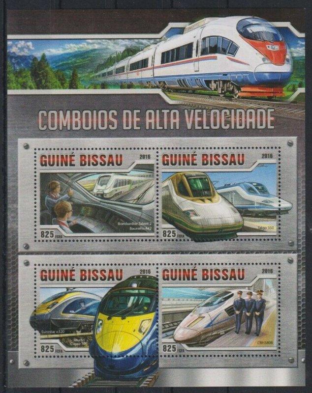 Guinea-Bissau MNH S/S Bullet Trains 2016
