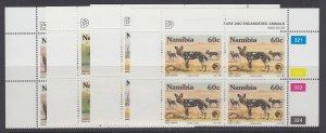 Namibia, Scott 726-729, MNH blocks of four
