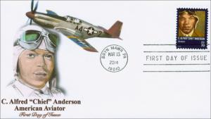 SC 4879, 2014 Alfred Chief Anderson, FDC, 70 Cents, Aviation,  Item 14-036