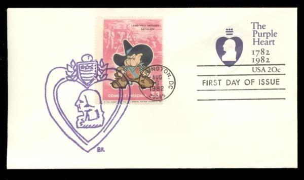 133rd Field Artillery Batalion Poster Stamp on Purple Heart #U603 FDC