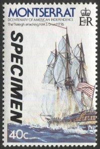 MONTSERRAT 1976  Sc 360  MNH, VF, 40c Ship - SPECIMEN Overprint