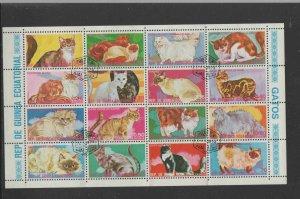 EQUATORIAL GUINEA   1975  CATS   MINT  VF NH  O.G  M/S 16  CTO (EQ14)