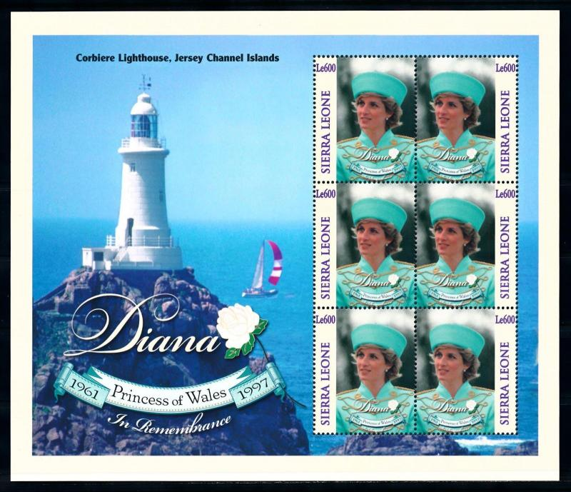 [95318] Sierra Leone 1998 Royalty Princess Diana Lighthouse Sheet MNH