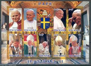 RWANDA 2012 POPE JOHN PAUL II SHEET OF NINE MINT NH
