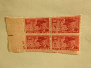 U. S. #985  MINT  corner block   OG   NH