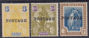 MALTA 1926 POSTAGE OVERPRINTED FIGURE 4D 6D AND 1/-