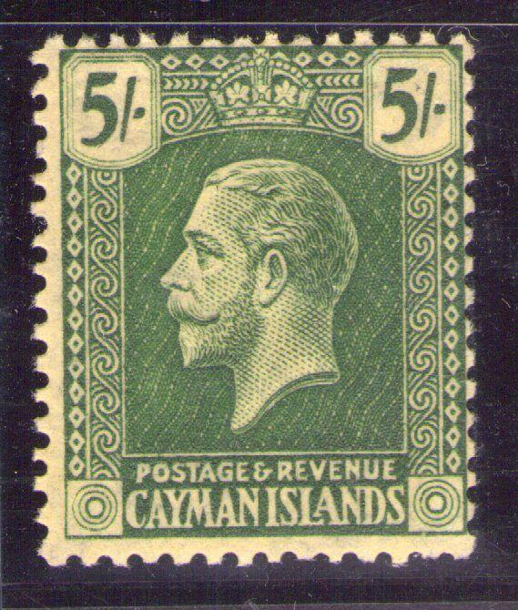 CAYMAN ISLANDS George V SG64a 5/- Deep green pale yellow unhinged,cat.£100.
