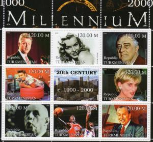 Turkmenistan 1999 Princess Diana/W.Disney/Michael Jordan Shlt (9) Perforated