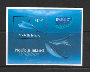 DOLPHINS - NORFOLK ISLAND #623A    PACIFIC 97  MNH