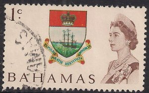 Bahamas 1967 - 71 QE2 1ct Coat of Arms used SG 295 ( F87 )