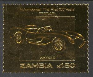Zambia 1987 Classic Car FERRARI Anniversary GOLD 1v Perforated Mint (NH)