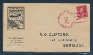 U.S.S. LOS ANGELES FLIGHT COVER NEW YORK TO BERMUDA APRIL 15,1925 BU6736