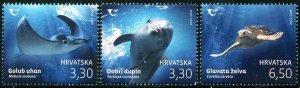 HERRICKSTAMP NEW ISSSUES CROATIA Fauna 2021 Turtle, Dolphin & Rey
