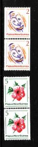 Papua New Guinea-Sc#534-5-unused NH set-Masks-Flowers-coil pairs-1981-