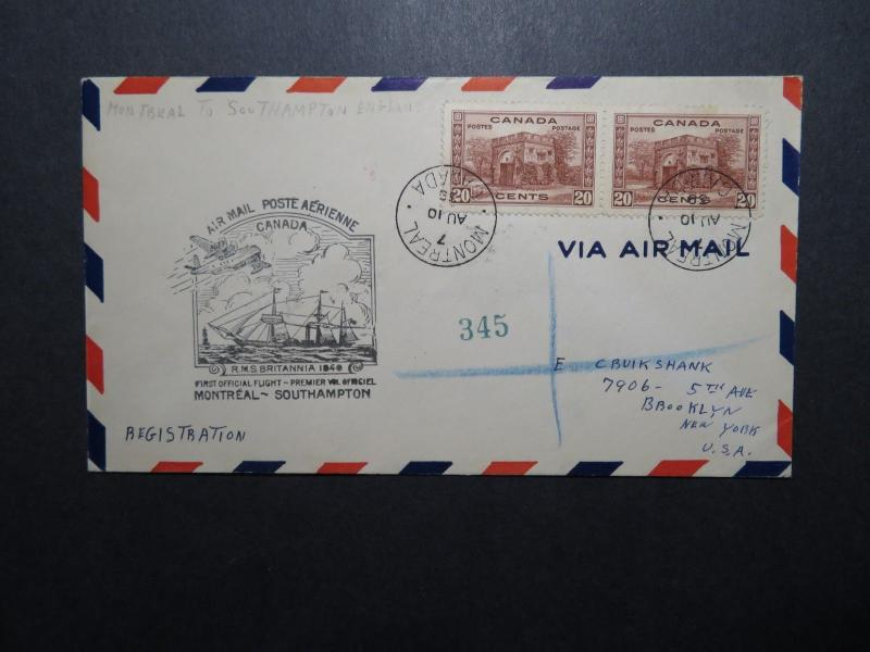 Canada 1939 Montreal to Southampton First Flight Cover / 20c Pair - Z11237