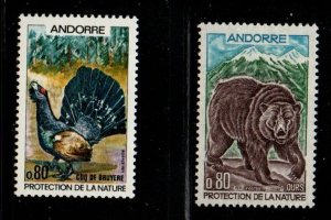 Andorra (Fr) Sc 203-4 1971 Nature Protection Bird & Bear stamp set mint NH