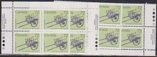 Canada USC #1083 Mint MS Imprint Blocks VF-NH 1987 72c Hand Drawn Cart