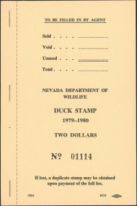 NEVADA #1 1979 COMPLETE INTACT BOOK OF 20 STAMPS. CAT $1300
